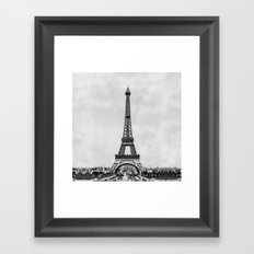 Eiffel tower, Paris France in black and white with painterly effect Framed Art Print