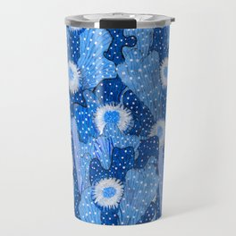 Cacti Camouflage, Floral Pattern, Blue Denim Travel Mug