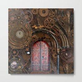 Rusty Gears Steampunk Portal Metal Print