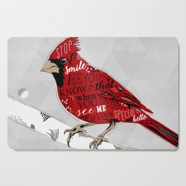 Cardinal Bird Lost Loved One Visiting Cutting Board