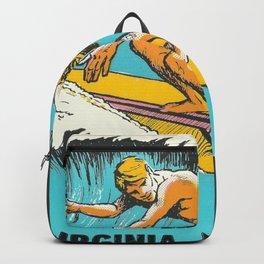 Surfer Vintage Retro Travel Wanderlust Virginia Beach Backpack