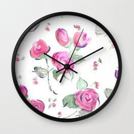 watercolor rose buds Wall Clock