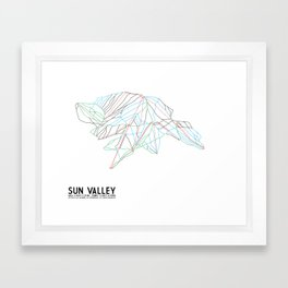 Sun Valley, ID - Minimalist Trail Map Framed Art Print