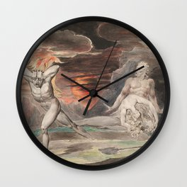 CAIN FLEEING FROM THE WRATH OF GOD - William Blake Wall Clock
