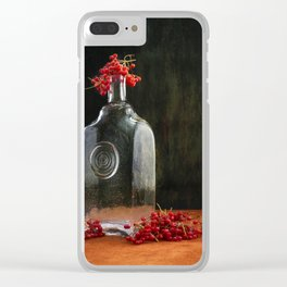 Still life with red Viburnum Clear iPhone Case