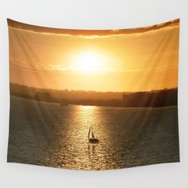Sail away from the safe harbor Wall Tapestry
