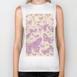 purple, vintage, butterflies, parchment Biker Tank
