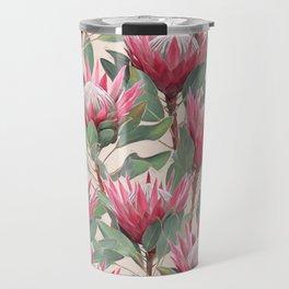Painted King Proteas on cream Travel Mug