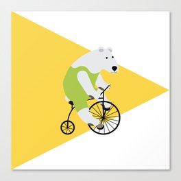 Cycling Polar Bear Triangle Canvas Print