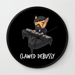 Clawed Debussy Piano Player Cat Pun Fun Gift Wall Clock