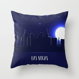 Las Vegas skyline silhouette at night Throw Pillow