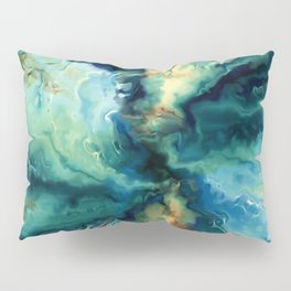 Marbled Ocean Abstract, Navy, Blue, Teal, Green Pillow Sham