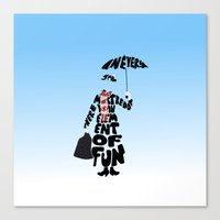 mary poppins Canvas Prints featuring Mary Poppins by pokegirl93