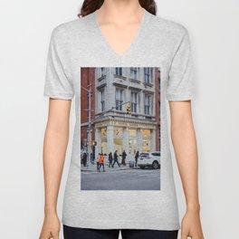 Corner street in Soho New York, USA | Architecture photography | Streets of New York City | Fine art wanderlust Unisex V-Neck