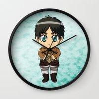 shingeki no kyojin Wall Clocks featuring Shingeki no Kyojin - Chibi Eren by Tenki Incorporated