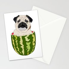 Pug Watermelon Stationery Cards