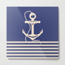 AFE Navy & Beige Anchor and Chain Metal Print