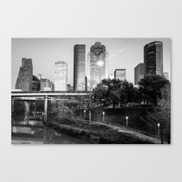 Houston Texas Skyline Over the Buffalo Bayou in Black and White Canvas Print