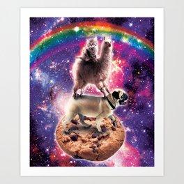 Space Cat Llama Pug Riding Cookie Art Print