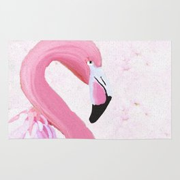 PINK FLAMINGO AND ORCHID OIL PAINTING Rug
