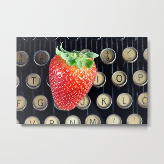 Strawberry on typewriter Metal Print