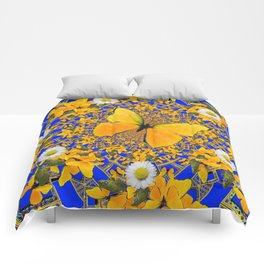 BUTTERFLY GREEN FROGS WHITE DAISIES BLUE MANDALA Comforters