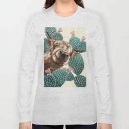 Sneaky Highland Cow and Cactus in yellow Long Sleeve T-shirt