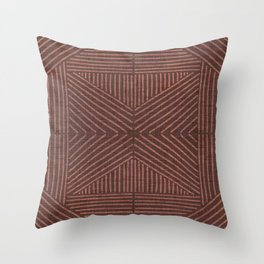 Terracotta clay line work on textured cloth - abstract geometric pattern Throw Pillow