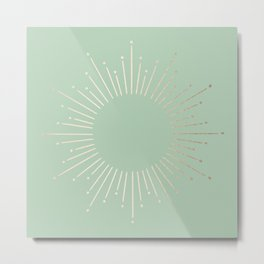 Simply Sunburst in Pastel Cactus Green Metal Print