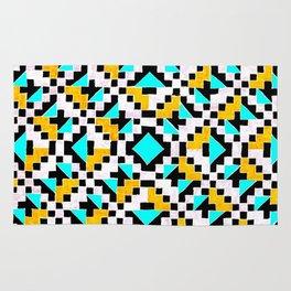 Geometric Inverse Turquoise & Yellow Rug