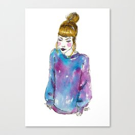 Fashion Illustration - Girl with a Sweater Canvas Print