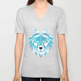 Silver Snow Wolf Art Wolves Pack Alpha Canidae Animals Gift Unisex V-Neck