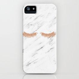 Rose gold marble lash envy iPhone Case