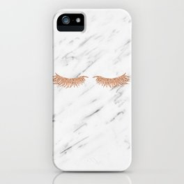 Rose gold marble lash envy iPhone Case