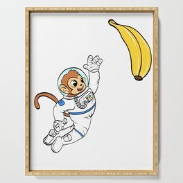 Are You A Fan Of Astronomy? An Astronaut Dreamer? Here's A Monkey Banana Antronaut T-shirt Design Serving Tray