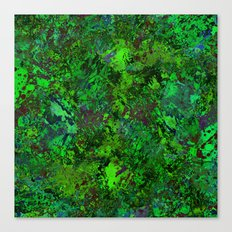 Lost In The Jungle - Abstract, green, jungle, foliage, leaves, forest themed artwork Canvas Print