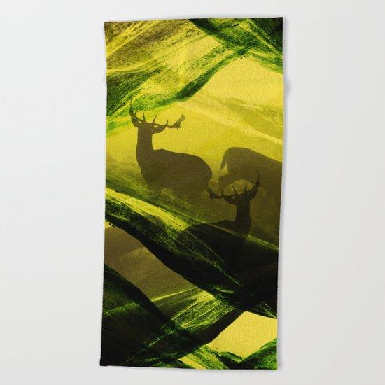 Oh Deer Complex Green Beach Towel