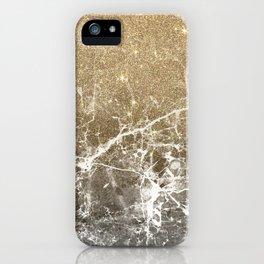 Vintage black white gold glitter marble iPhone Case