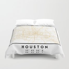 HOUSTON TEXAS CITY STREET MAP ART Duvet Cover