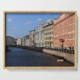 Embankment of the Moika River. Facades of buildings of St. Petersburg. Serving Tray