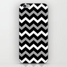 Black White & Grey Chevron Print Pattern iPhone Skin