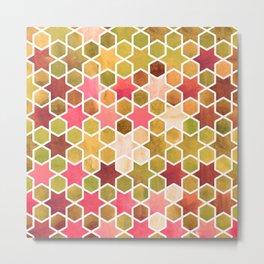 Kaleidoscope effect. Watercolor mosaic stars. Metal Print