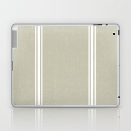 White Stripes on Linen color background French Grainsack Distressed Country Farmhouse Laptop & iPad Skin
