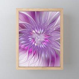 Pink Flower Passion, Abstract Fractal Art Framed Mini Art Print