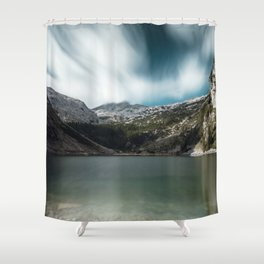 Magnificent lake Krn with mountain Krn, Slovenia Shower Curtain