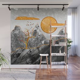 Marble mountains and the fire tree Wall Mural