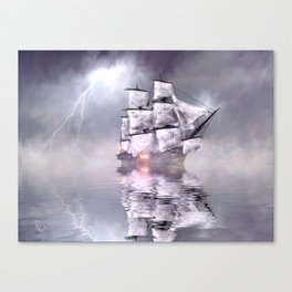 The mist and the boat Canvas Print