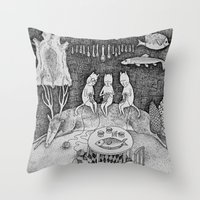 knitting Throw Pillows featuring Knitting Cats by Ulrika Kestere