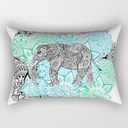 Boho paisley elephant handdrawn pastel floral Rectangular Pillow
