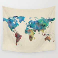 World Map Watercolor Linen Cotton Texture Blue Red Yellow Green Wall Tapestry